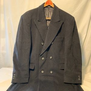 Men's Cashmere Double Breasted Coat in Charcoal L